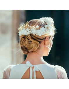 Couronne de fleurs blanches Lune - hortensias stabilisés - Céligné Paris - Comptoir Doré