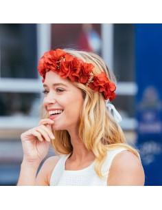 Couronne de fleurs Trudaine - fleurs stabilisées rouges - Céligné Paris - Comptoir Doré