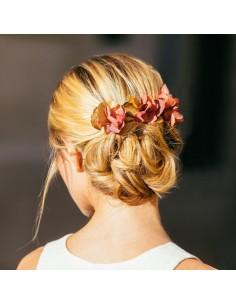 Peigne Grenelle - fleurs stabilisées dorées et bordeaux - Céligné Paris - Comptoir Doré