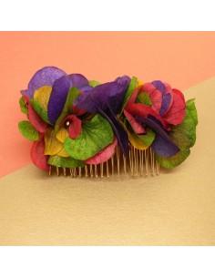 Peigne Turbigo - fleurs stabilisées multicolores - Céligné Paris - Comptoir Doré
