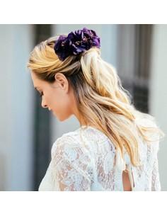 Double peigne Choron - fleurs stabilisées violettes - Céligné Paris - Comptoir Doré