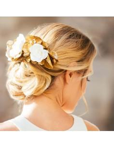 Double peigne Trétaigne - fleurs stabilisées blanches & dorées - Céligné Paris - Comptoir Doré