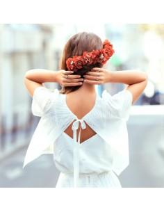 Double peigne Trudaine - fleurs stabilisées rouges - Céligné Paris - Comptoir Doré