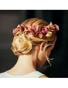 Double peigne Grenelle - fleurs stabilisées dorées et bordeaux - Céligné Paris - Comptoir Doré