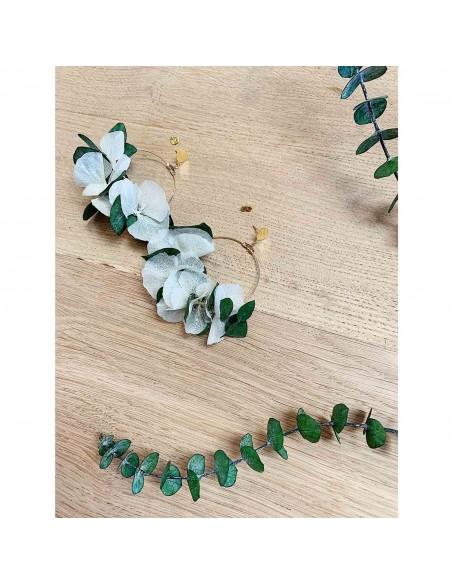 Boucles d'oreilles Vesta - hortensias & eucalyptus stabilisés - BFlower - Comptoir Doré