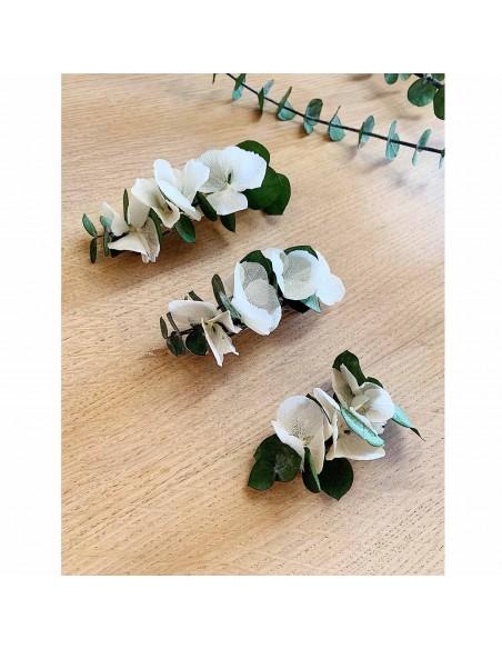 Barrette fleurs stabilisées Vesta - hortensias & eucalyptus - BFlower - Comptoir Doré