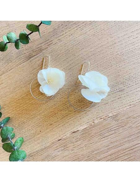 Boucles d'oreilles Anat - fleurs stabilisées - BFlower - Comptoir Doré