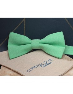 Noeud Papillon Gaston Chambray Vert - Comptoir Doré