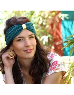 Bandeau plissé vert émeraude Judith - Comptoir Doré