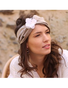 Bandeau Blanche - headband fleurs d'hortensias - Comptoir Doré