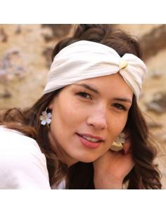 Bandeau Victoire - headband plissé blanc irisé - Comptoir Doré