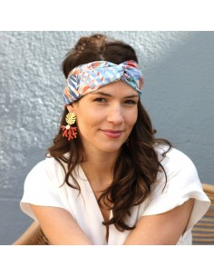 Bandeau Maïa - headband tropical bleu orange - Comptoir Doré