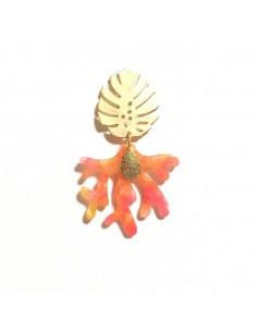 Boucles d'oreilles Tropico Corail - boucles d'oreilles corail - MdeB Créations - Comptoir Doré