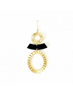 Boucles d'oreilles Tao - boucles d'oreilles dorées et noires - MdeB Créations - Comptoir Doré