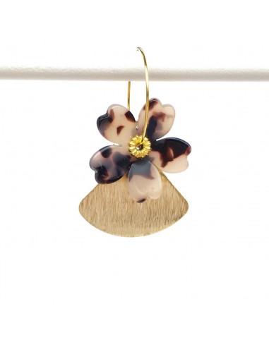Boucles d'oreilles Pétal - créoles fleur écaille - MdeB Créations - Comptoir Doré