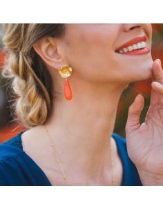 Boucles d'oreilles Eglantine - boucles d'oreilles corail - Mathilde Forget - Comptoir Doré