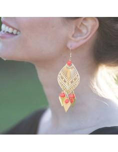 Boucles d'oreilles Hestia - perles corail fluo - Mathilde Forget - Comptoir Doré