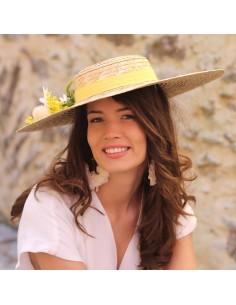 Capeline Romy Jaune - chapeau de paille fleurs jaunes - Comptoir Doré