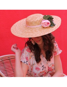 Capeline Romy Rose - chapeau de paille pivoines roses - Comptoir Doré
