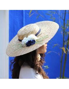 Capeline Romy Bleu - chapeau de paille fleurs bleues - Comptoir Doré