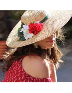 Capeline Romy Vert & Rouge - chapeau de paille fleurs rouges - Comptoir Doré