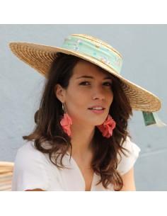 Capeline Romy x Jasmine - chapeau de paille bandeau fleuri - Comptoir Doré