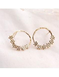 Boucles d'oreilles Carla - créoles martelées dorées - SIR Jane - Comptoir Doré