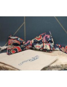 Noeud Papillon Imprimé Cachemire Bleu