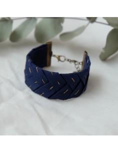 Bracelet Brodé Marine - Alma Créations - Comptoir Doré