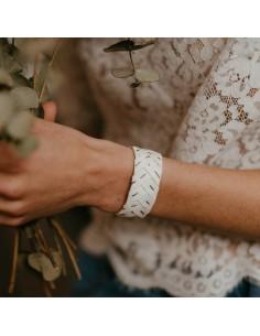 Bracelet Brodé Blanc - Alma Créations - Comptoir Doré