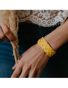 Bracelet Brodé Jaune - Alma Créations - Comptoir Doré