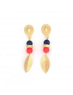 Boucles d'oreilles Olivia Lapis Lazuli & Corail fluo - Mathilde Forget - Comptoir Doré