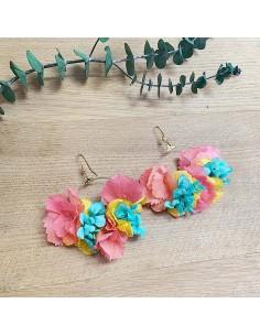 Boucles d'oreilles fleurs stabilisées Anahit - BFlower - Comptoir Doré