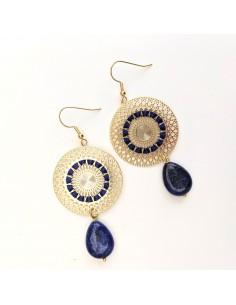 Boucles d'oreilles Cana Lapis Lazuli - MdeB Créations - Comptoir Doré