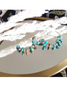 Boucles d'oreilles Prisca Turquoise - Ginandger - Comptoir Doré