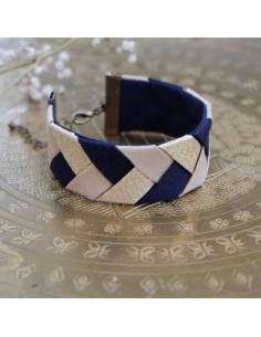 Bracelet Beige x Bleu marine