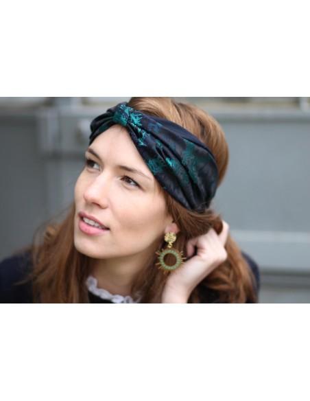 Bandeau Irina - bandeau brodé turquoise et marine - Comptoir Doré
