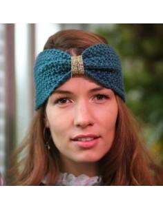 Bandeau tricot Daphnée émeraude - Comptoir Doré