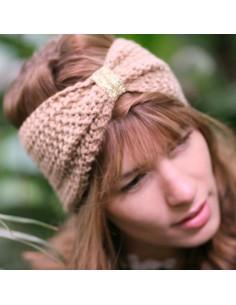 Bandeau tricot Daphnée beige - Comptoir Doré