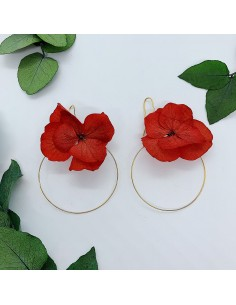 Boucles d'oreilles Lyssa fleurs stabilisées - BFlower - Comptoir Doré
