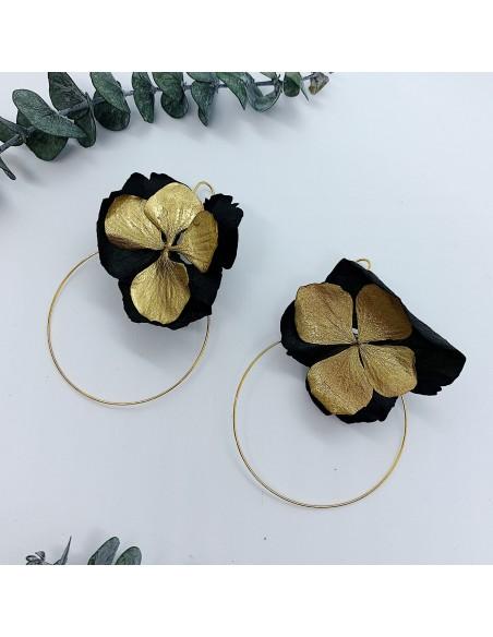 Boucles d'oreilles Lyssa Gold - fleurs stabilisées - BFlower - Comptoir Doré