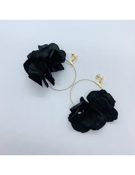 Boucles d'oreilles Bolina - hortensias stabilisées - BFlower - Comptoir Doré