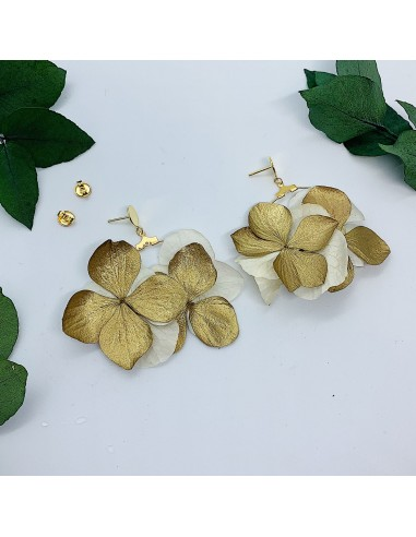 Créoles Mini-Cléo - hortensias dorés stabilisés - BFlower - Comptoir Doré