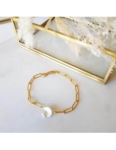 Bracelet Joséphine - chaine grosses mailles et perles - Ginandger - Comptoir Doré