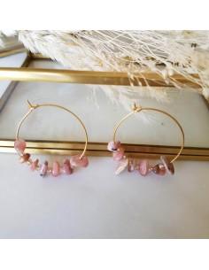 Boucles d'oreilles Prisca - créoles pierres fines roses - Ginandger - Comptoir Doré