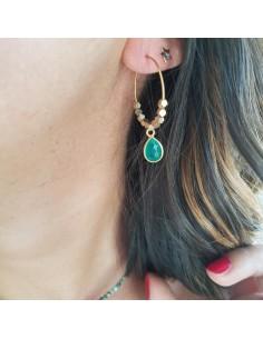 Boucles d'oreilles Pipa - créoles pierre fine - Ginandger - Comptoir Doré