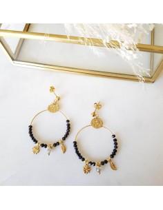 Boucles d'oreilles Camila Noires - Ginandger - Comptoir Doré