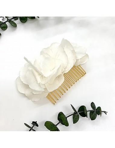 Peigne White - hortensias blancs stabilisés - BFlower - Comptoir Doré