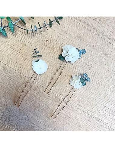 Epingles à cheveux Hortensia et Eucalyptus - BFlower - Comptoir Doré