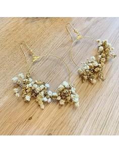 Boucles d'oreilles Gypsophile Gold - fleurs stabilisées - BFlower - Comptoir Doré